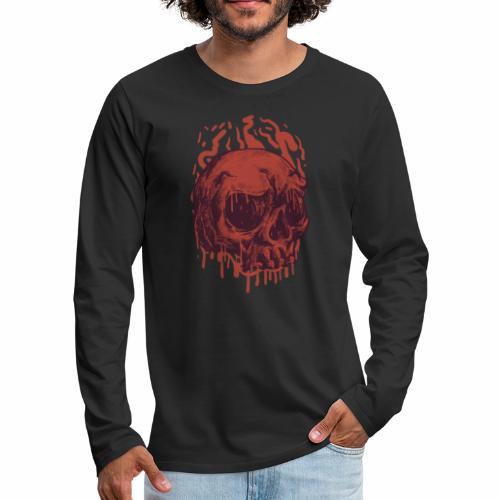 Bloody Skull - Miesten premium pitkähihainen t-paita