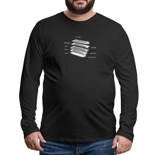 Exploded harmonica - white text - Men's Premium Longsleeve Shirt