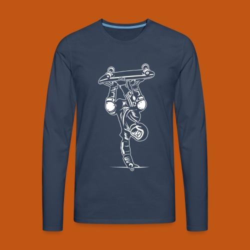 Skater / Skateboarder 02_weiß - Männer Premium Langarmshirt