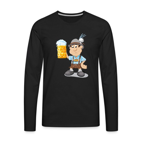 Bier Maßkrug Lederhosen Cartoon Man - Männer Premium Langarmshirt