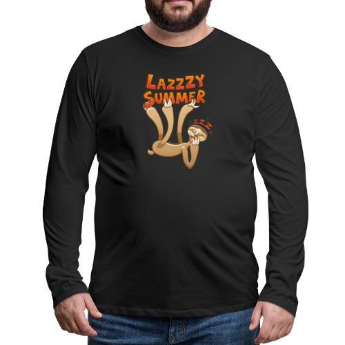 Sleepy sloth yawning and enjoying a lazy summer - Men's Premium Longsleeve Shirt