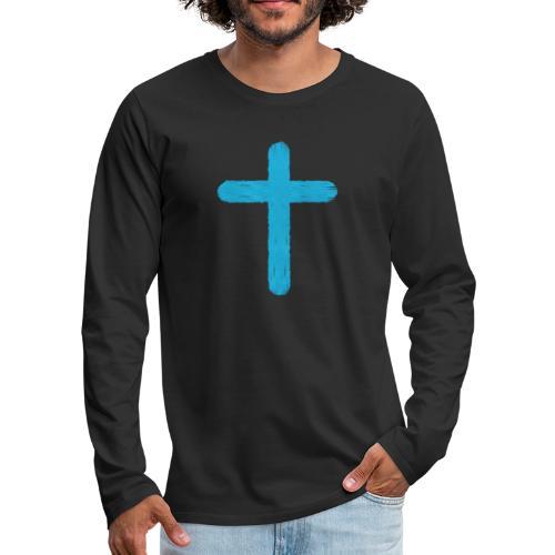 Blue cross - Camiseta de manga larga premium hombre