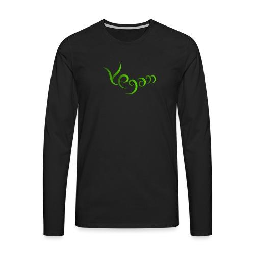 Vegaani käsinkirjoitettu design - Miesten premium pitkähihainen t-paita
