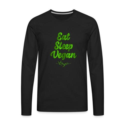 Eat Sleep Vegan - Miesten premium pitkähihainen t-paita