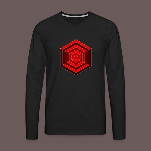 Hexagon Cube - Herre premium T-shirt med lange ærmer