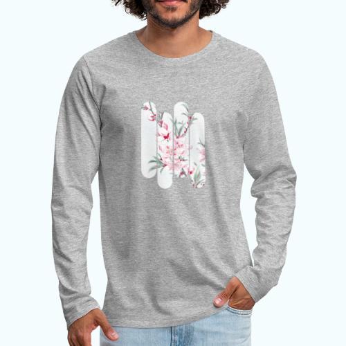 Vintage Japan watercolor flowers - Men's Premium Longsleeve Shirt