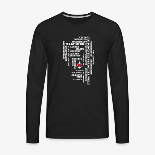 Hamburg Begriffe / Herz auf Anker / Text weiss - Männer Premium Langarmshirt