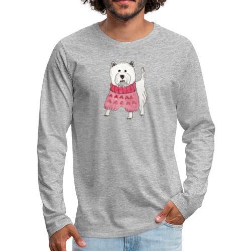 westie with sweater - Herre premium T-shirt med lange ærmer