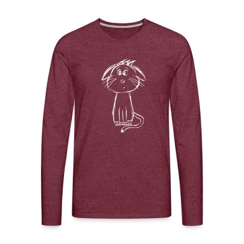 Kissa Kissanpentu valkoinen scribblesirii - Miesten premium pitkähihainen t-paita