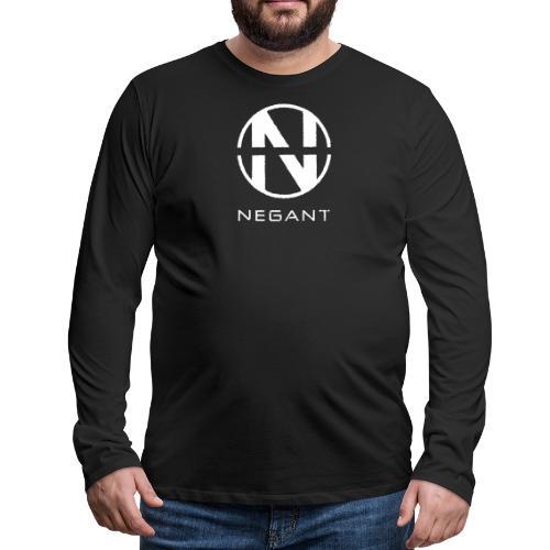White Negant logo - Herre premium T-shirt med lange ærmer
