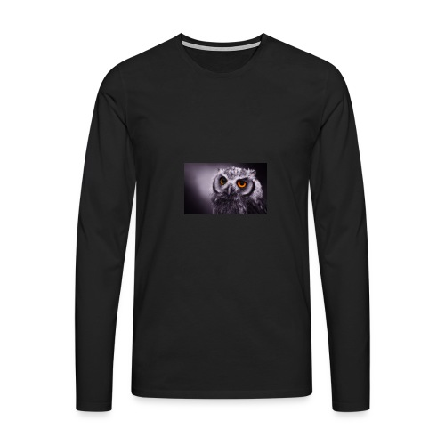 Pöllö - Miesten premium pitkähihainen t-paita