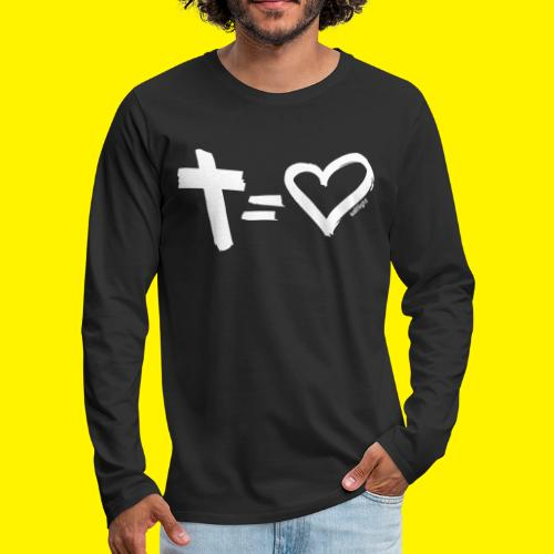 Cross = Heart WHITE // Cross = Love WHITE - Men's Premium Longsleeve Shirt