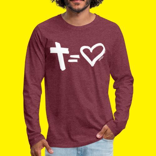 Cross = Heart WHITE // Cross = Love WHITE - Men's Premium Longsleeve Shirt