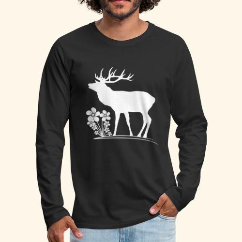 wilder Hirsch mit Blumen, Tiere, Reh, Hirsche - Männer Premium Langarmshirt