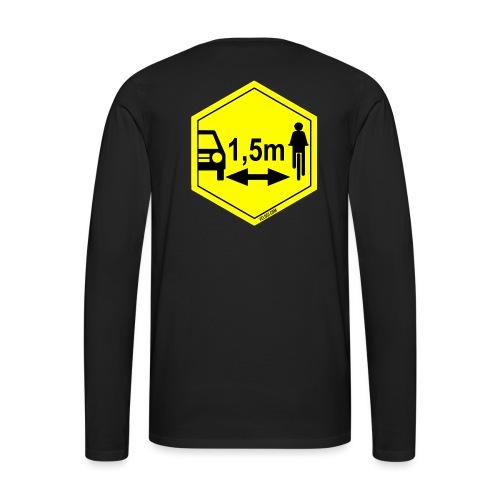 Turvaetäisyys 1,5 m - Miesten premium pitkähihainen t-paita