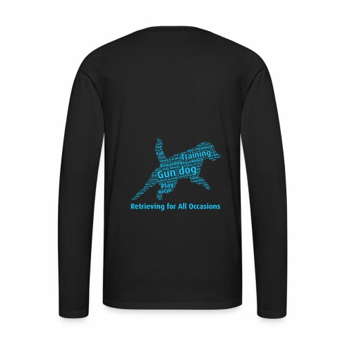 Retrieving for All Occasions wordcloud blått - Långärmad premium-T-shirt herr