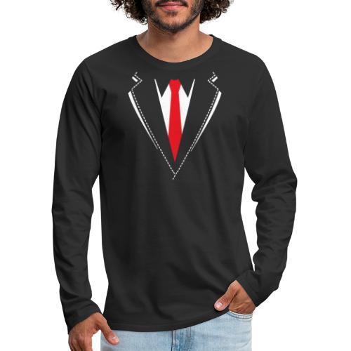 Vlinderdas of stropdas kostuum. - Mannen Premium shirt met lange mouwen