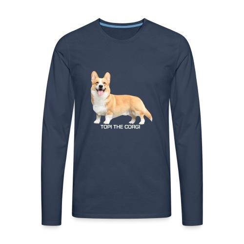 Topi the Corgi - White text - Men's Premium Longsleeve Shirt