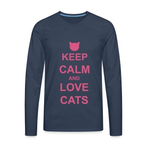 Keep Calm and Love Cats - Pink - Men's Premium Longsleeve Shirt