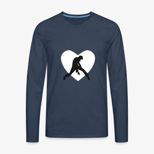 coeur blanc rocker noir - T-shirt manches longues Premium Homme