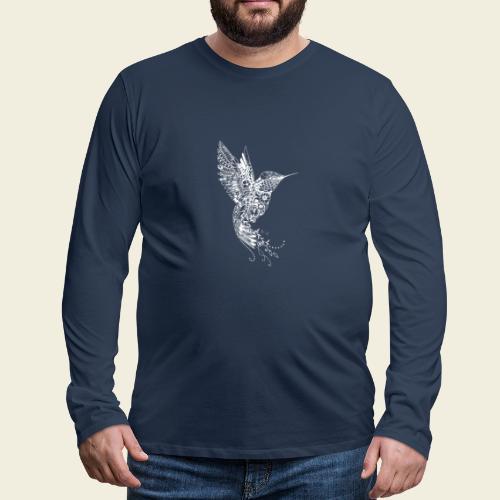 Großer Kolibri in weiß - Männer Premium Langarmshirt