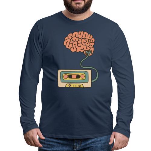 Musikkassette am Gehirn - Männer Premium Langarmshirt