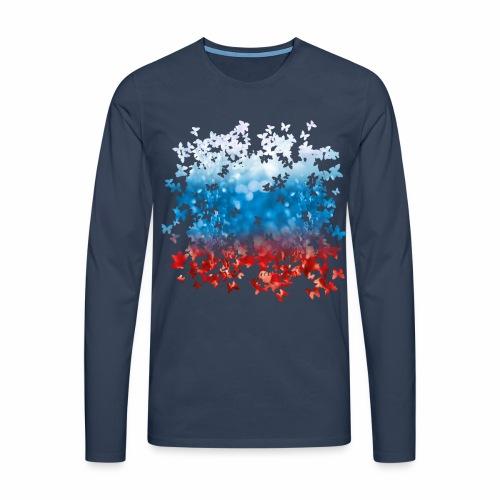 06 Russland Flagge Fahne Russia Schmetterlinge - Männer Premium Langarmshirt