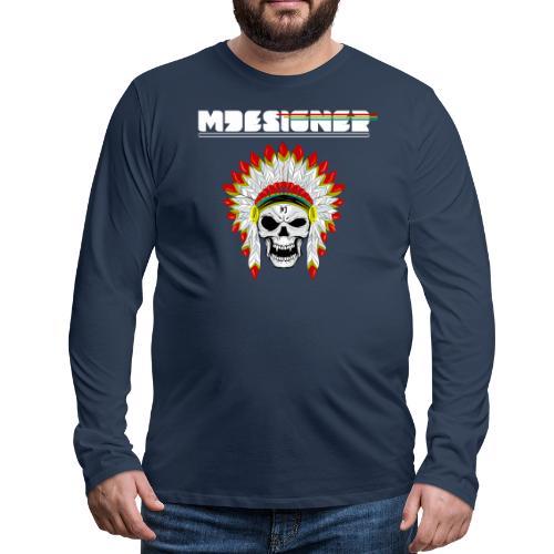 calavera o craneo con penacho de plumas vampiresco - Camiseta de manga larga premium hombre