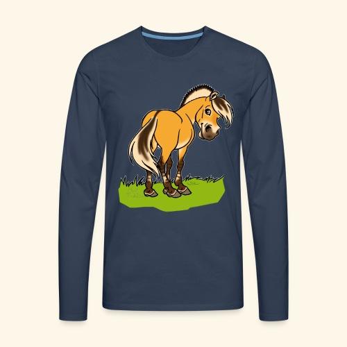 Freundliches Fjordpferd (Ohne Text) Weisse Umrisse - T-shirt manches longues Premium Homme