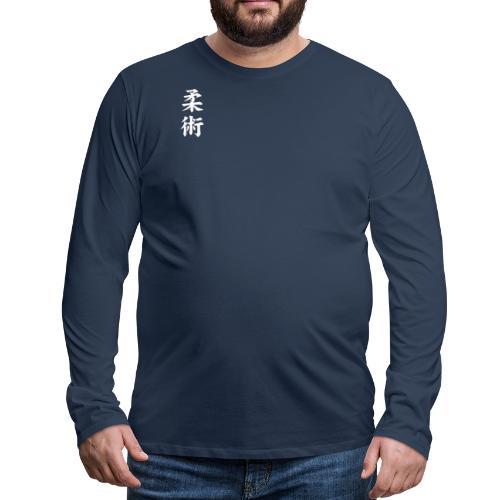 jiu-jitsu på japansk og logo i hvid - Herre premium T-shirt med lange ærmer