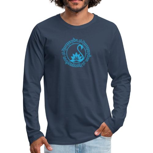 Sarasvati Mantra in Sanskrit Yoga Motiv Yogawear - Männer Premium Langarmshirt