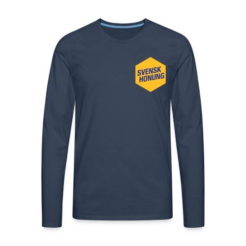 Svensk honung Hexagon Gul/Blå - Långärmad premium-T-shirt herr