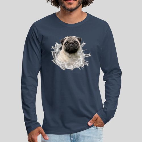 Mops Beige im Glasloch - Männer Premium Langarmshirt