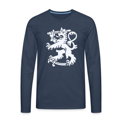 Valkoinen leijona - Miesten premium pitkähihainen t-paita