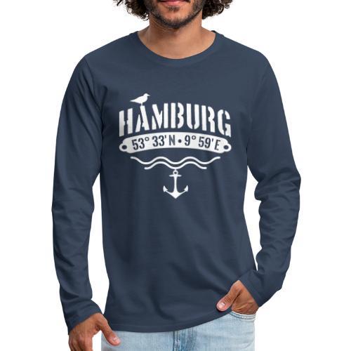 Hamburg Koordinaten Anker Möwe Längengrad - Männer Premium Langarmshirt