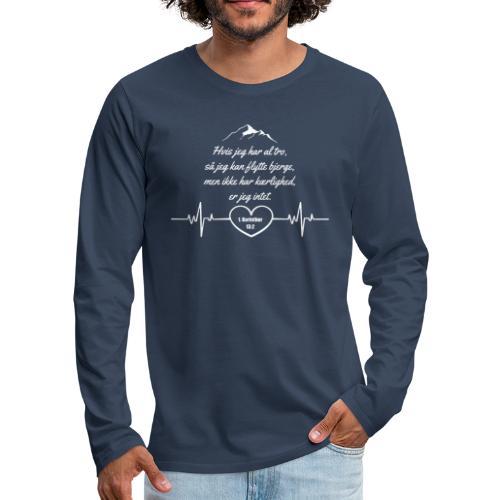 1 korinther 13:2 Hvid - Herre premium T-shirt med lange ærmer