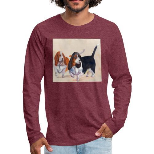 Basset hound_double-trot - Herre premium T-shirt med lange ærmer