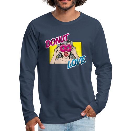 Popart - Donut Love - Zunge - Süßigkeit - Männer Premium Langarmshirt