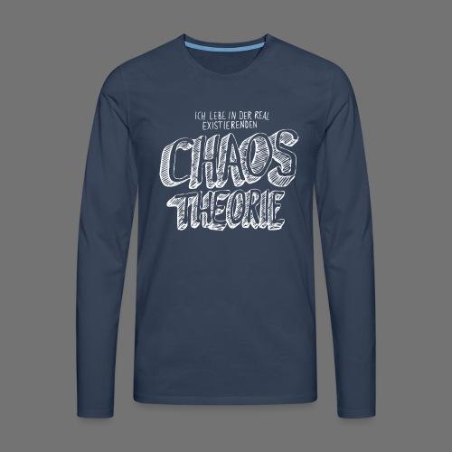 Chaos Theory (valkoinen) - Miesten premium pitkähihainen t-paita