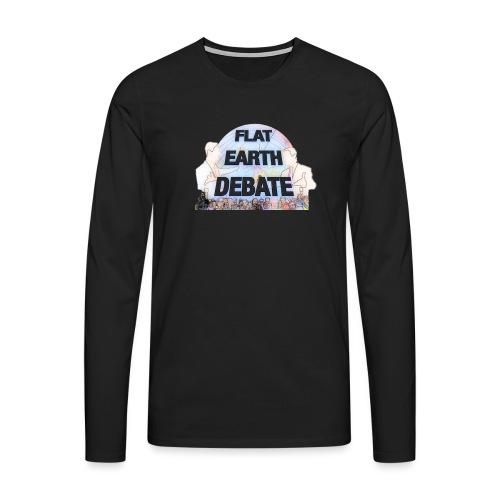 Flat Earth Debate Cartoon - Men's Premium Longsleeve Shirt