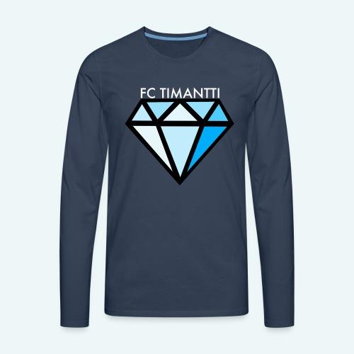 FCTimantti logo valkteksti futura - Miesten premium pitkähihainen t-paita