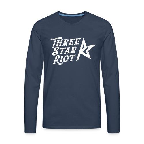 Three Star Riot logo vaalea - Miesten premium pitkähihainen t-paita
