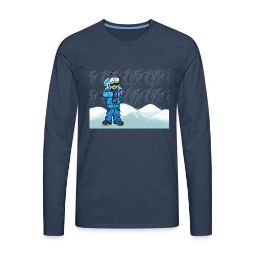 Freezing Turtle Snowboarder/Frierender Snowboarder - Männer Premium Langarmshirt