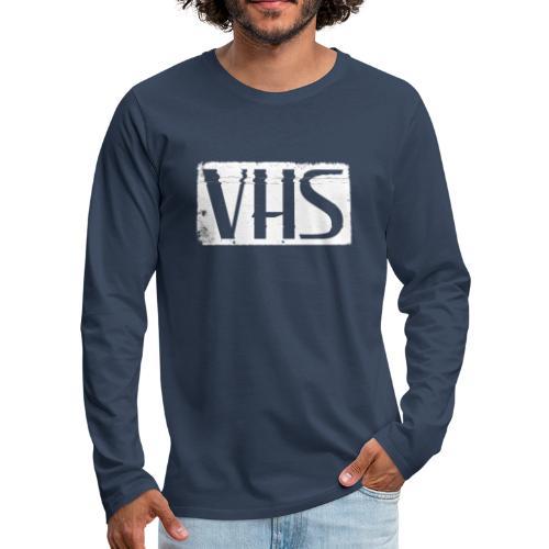 VHS WHITE LABEL - Miesten premium pitkähihainen t-paita