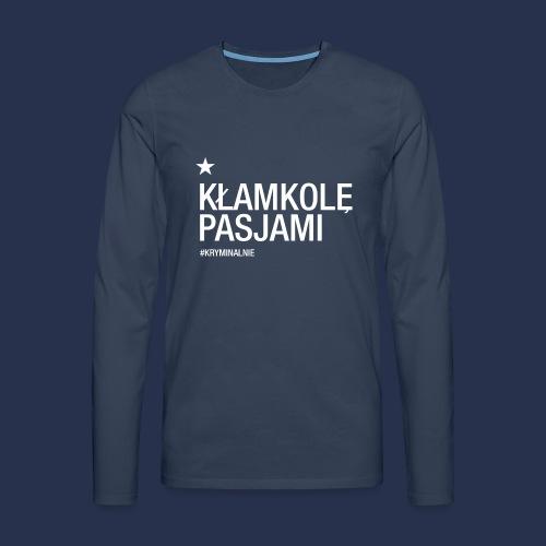 kłamkolę - napis jasny - Koszulka męska Premium z długim rękawem