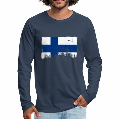 Suomen lippu, Finnish flag T-shirts 151 Products - Miesten premium pitkähihainen t-paita