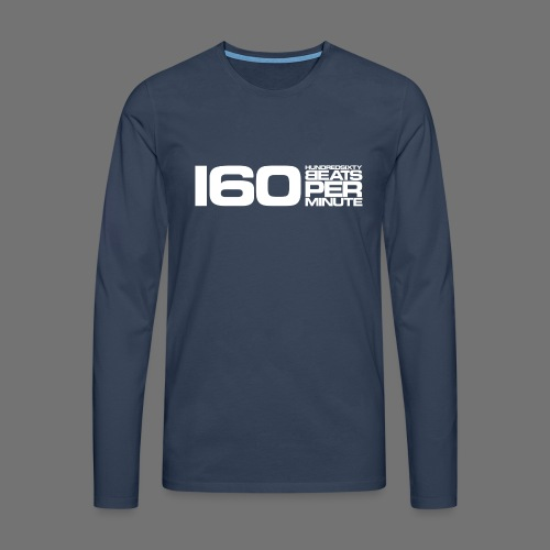 160 BPM (hvid lang) - Herre premium T-shirt med lange ærmer