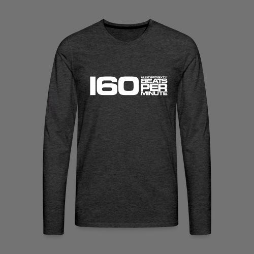 160 BPM (valkoinen pitkä) - Miesten premium pitkähihainen t-paita