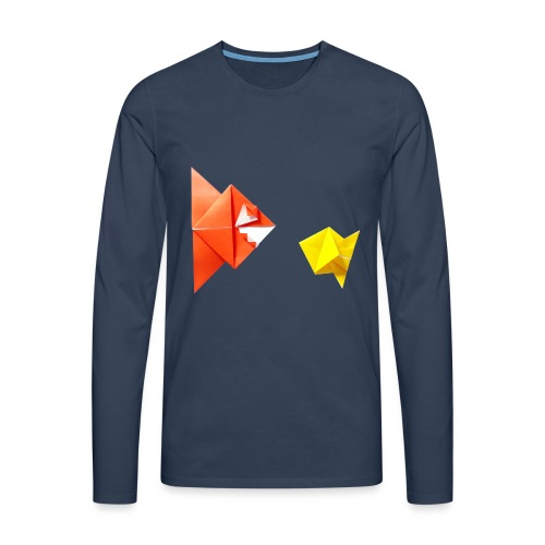 Origami Piranha and Fish - Fish - Pesce - Peixe - Men's Premium Longsleeve Shirt