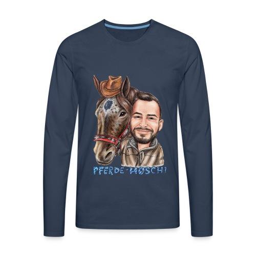 Pferde-Hoschi Kollektion hinten - Männer Premium Langarmshirt